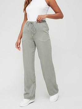 V By Very Elasticated Waist Soft Touch Wide Leg Trouser - Khaki