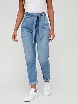v-by-very-thenbspsupersoft-belted-mom-jean-mid-washnbsp