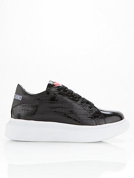 love-moschino-patent-croc-chunky-sole-trainers-black