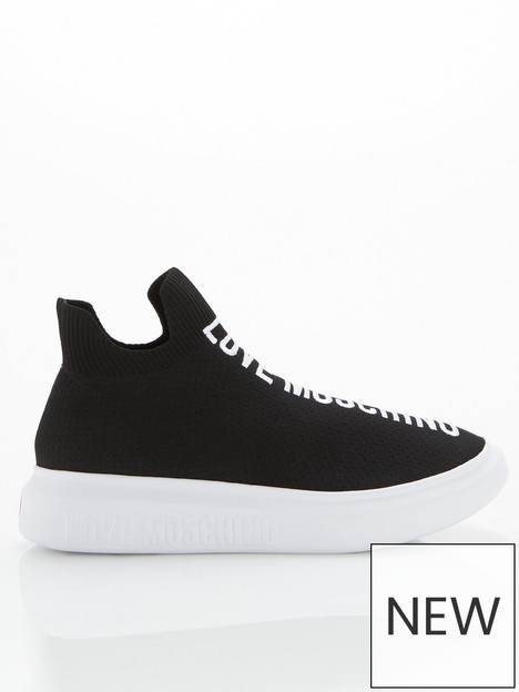 love-moschino-stretch-knit-fabricnbsptrainers-black