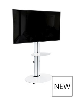avf-eno-oval-600-pedestal-tv-stand-silverwhitenbsp-nbspfits-up-to-55-inch-tv