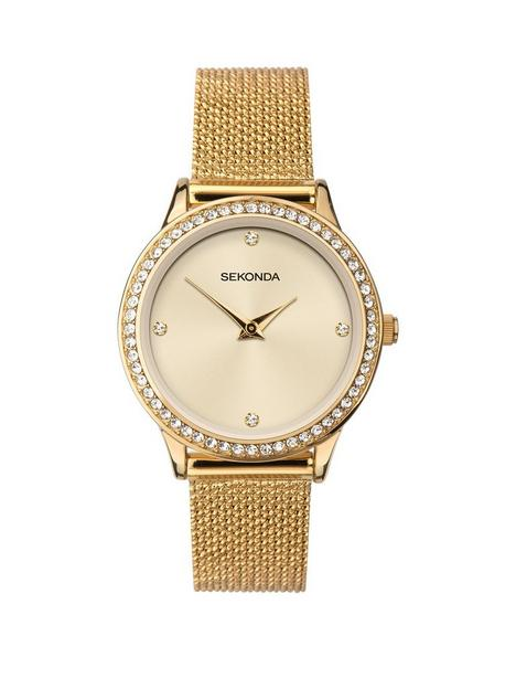 sekonda-sekonda-cream-crystal-set-dial-gold-stainless-steel-mesh-strap-ladies-watch