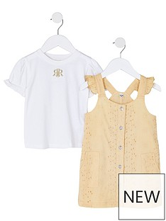 river-island-mini-mini-girls-yellow-broderie-pinafore-dress-set