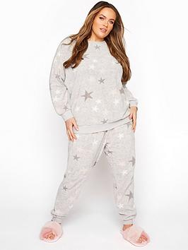 Yours Yours Star Fleece Lounge Set - Pink/Grey, Pink, Size 18-20, Women