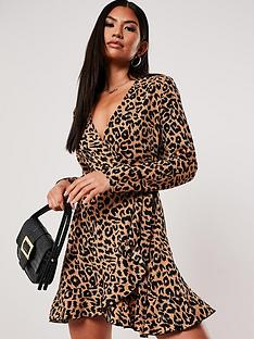 missguided-missguided-ruffle-hem-wrap-tea-dress-leopardbrown