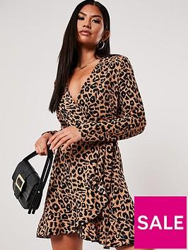 missguided-missguided-ruffle-hem-wrap-tea-dress-leopardbrown