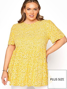 yours-yours-limited-shirred-peplum-top-yellow