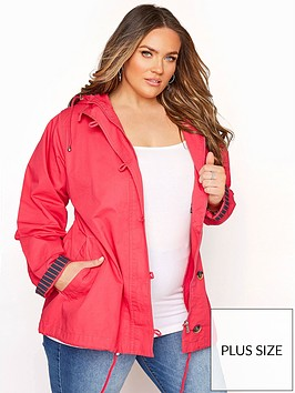 yours-yours-twill-parka-contrast-lining-pink