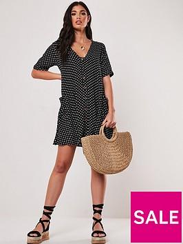 missguided-missguided-button-throughnbspsmock-dress-black