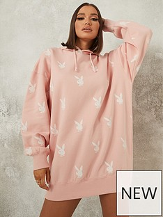 missguided-missguided-playboy-bunny-all-over-hoodie-dress-pink