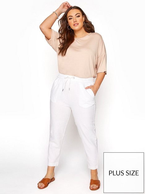 yours-yours-linen-mix-joggers-white