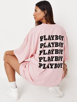 missguided-missguided-playboy-repeat-slogan-t-shirt-dress-pink