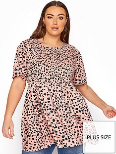 yours-yours-shirred-short-sleeve-top-pink-animal-print