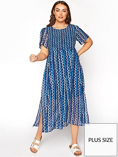 yours-yours-limited-shirred-crinkle-ditsy-maxi-dress