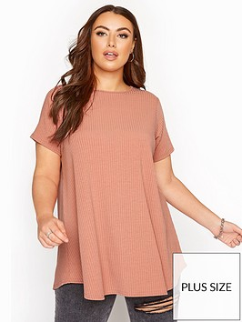 yours-yours-limited-brick-rose-short-sleeve-rib-top-pink