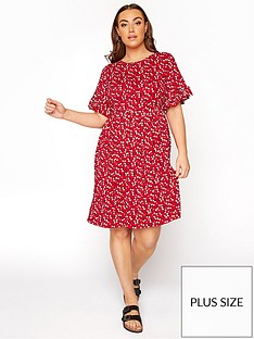 yours-yours-limited-floral-frill-sleeve-dress-red