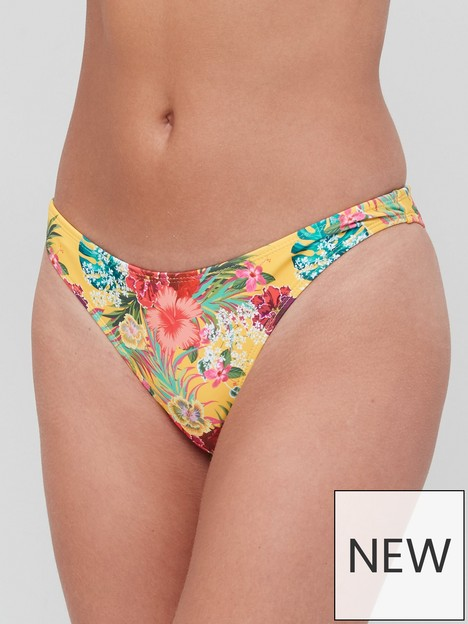 missguided-floral-tropical-cheeky-bikini-bottoms-yellow