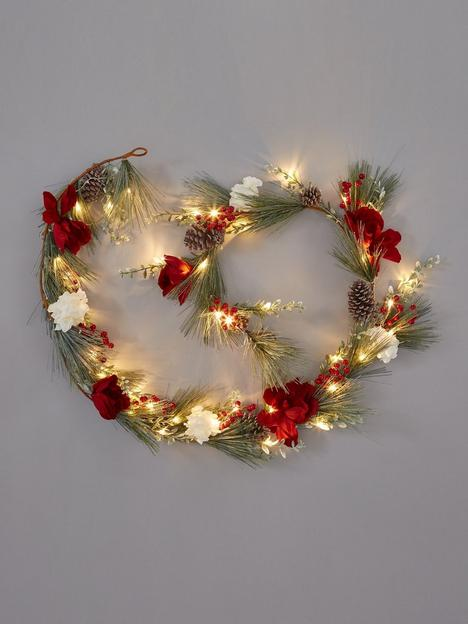 red-white-and-grey-pre-lit-christmas-garland-ndash-270-cm-length