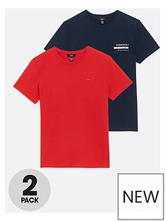 new-look-boysnbsp2-pack-embroidered-graphic-t-shirts-red-navy