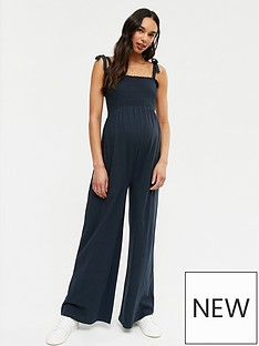 new-look-maternity-shirred-wide-leg-jumpsuit-navy