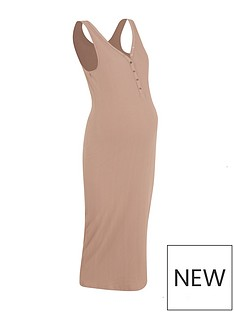 new-look-maternity-popper-bodycon-midi-dress-camel
