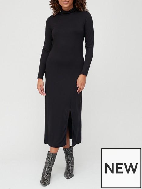 v-by-very-jerseynbspturtle-necknbspmidi-dress-black