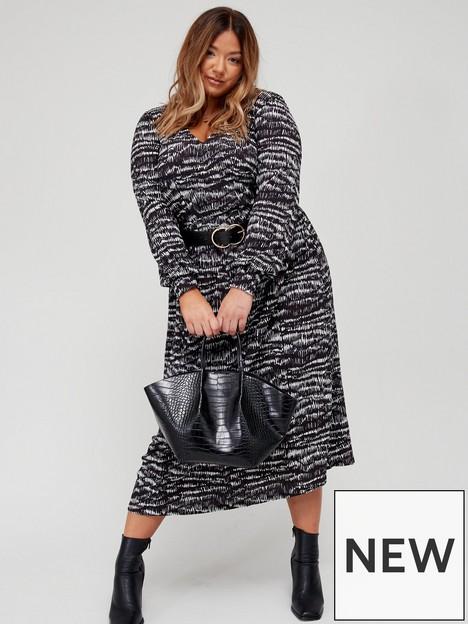 v-by-very-curve-long-sleeve-wrap-crinkle-jersey-midi-dress-mono-print