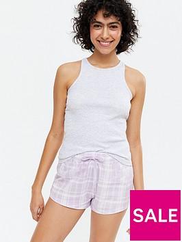 new-look-racer-vest-ampnbspcheck-short-pyjama-set-light-grey