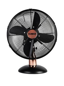 tower-t611000b-cavaletto-12-inch-metal-desk-fan-with-3-speed-settings-and-heavy-duty-high-power-motor-35w-black-and-rose-gold