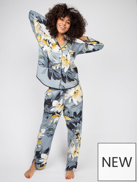cyberjammies-floral-print-pyjama-setnbsp--grey