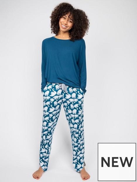 cyberjammies-swan-print-pyjama-setnbsp--teal