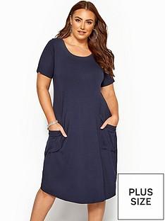 yours-yours-sustainable-short-sleeve-drape-pocket-dress