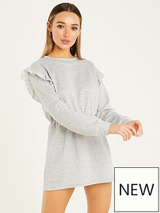 quiz-quiz-loop-back-frill-shoulder-sweater-dress-grey-marlnbsp