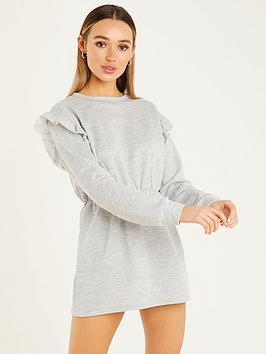 Quiz Quiz Loop Back Frill Shoulder Sweater Dress - Grey Marl , Grey Marl, Size 8, Women