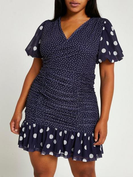 ri-plus-plus-meshmix-spot-tee-mini-dress