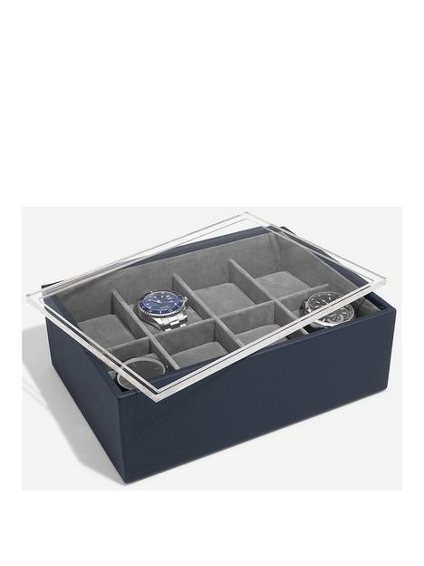 stackers-navy-8-piece-watch-box-with-lid