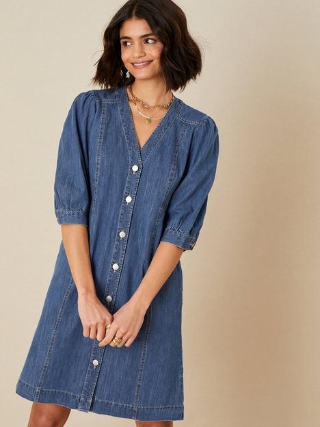 monsoon-v-neck-puff-sleeve-denim-dress