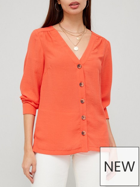 v-by-very-washed-linen-button-front-blouse-orange