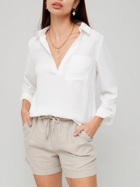 v-by-very-washed-linen-notch-neck-blouse-ivory