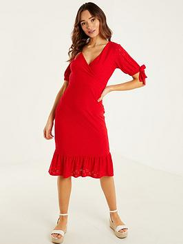 quiz-broderie-anglaise-frill-midi-dress-red