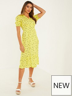 quiz-chiffon-ditsy-wrap-dress-yellow
