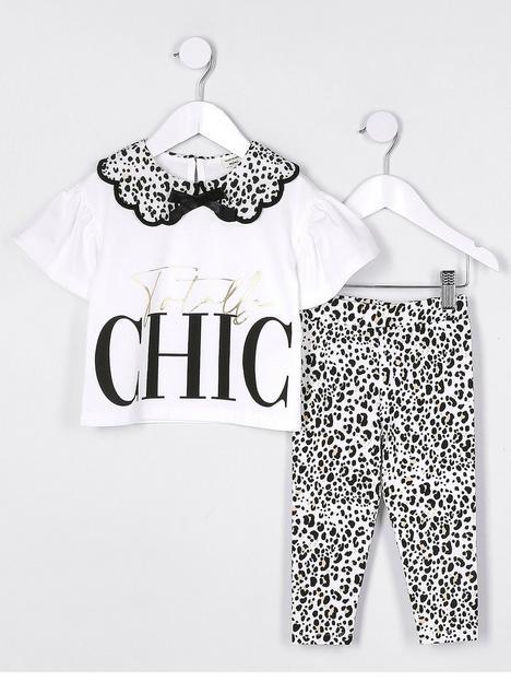 river-island-mini-mini-girls-animal-print-legging-and-tshirt-set-white