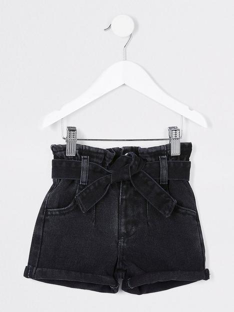 river-island-mini-mini-girls-paperbag-denim-shorts-black