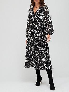 v-by-very-button-down-shirred-arm-midi-dress-black-with-white-heart-print