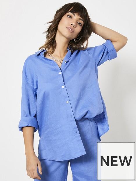mint-velvet-blue-linen-long-sleeved-shirt