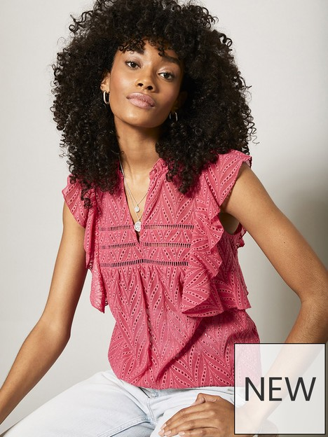 mint-velvet-pink-broderie-anglaise-top
