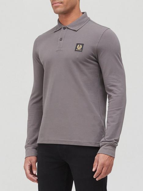 belstaff-chest-logo-long-sleeve-polo-shirt-grey