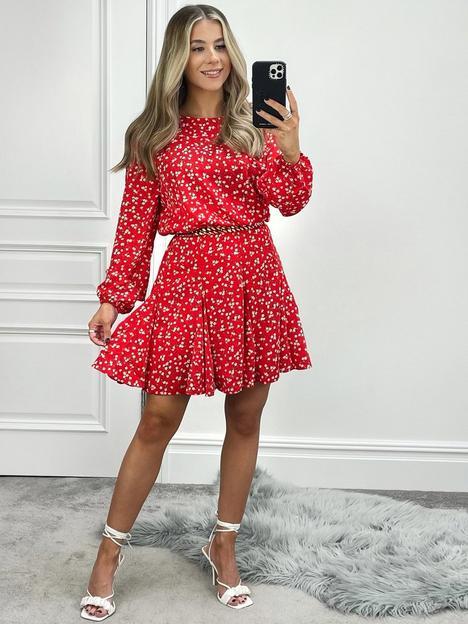 ax-paris-ditsy-print-godet-hem-mini-dress-red