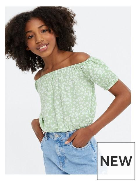 new-look-915-sam-ditsy-bardot-green-print
