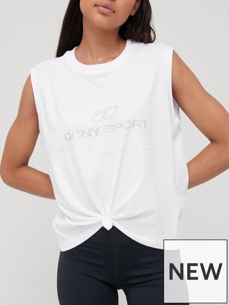 dkny-sport-rhinestone-logo-knotted-tank-top-white